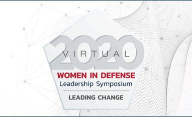 "Image of WID 2020 Symposium logo; a pentagon with the words ""2020 Virtual Women in Defense Leadership Symposium: Leading Change"" inside the Pentagon. The font is in red, blue, and gray colors and the pentagon is mostly a white color."