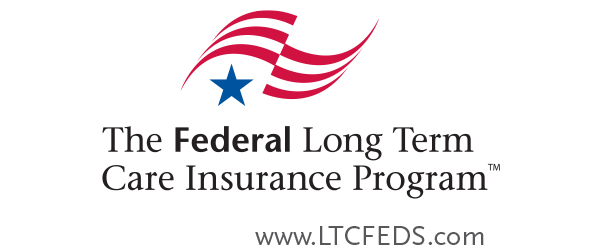 "Red and white stripes and blue star above the title ""Federal Long Term Care Insurance Program"" and the website url ""www.LTCFEDS.com"""