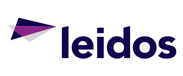 "Blue and Magenta triangle next to the title ""Leidos"""
