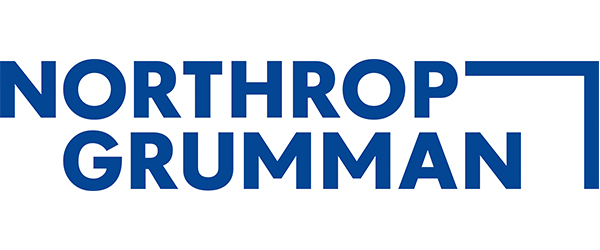 """Northrop Grumman logo; the words """"Northrop Grumman"""" in navy on a white background with a large angle connecting Northrop and Grumman together."""